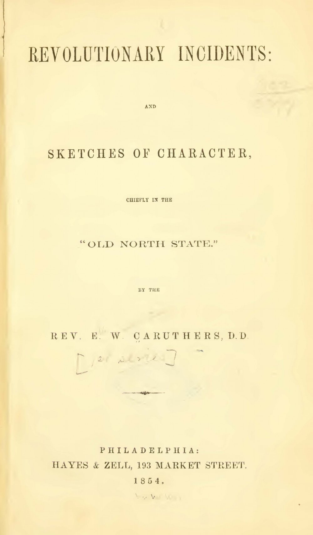 Caruthers, Eli Washington, Revolutionary Incidents Title Page.jpg