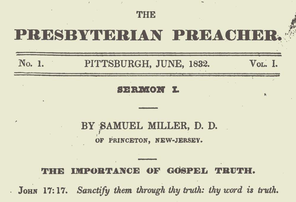 Miller, Samuel, The Importance of Gospel Truth Title Page.jpg