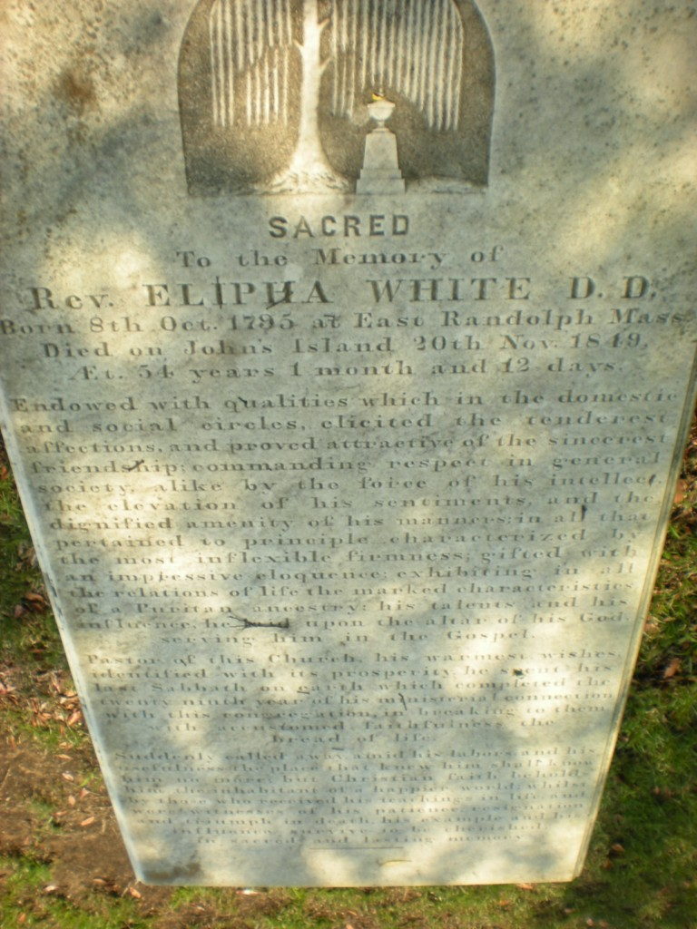 Elipha White is buried at Johns Island Presbyterian Church Cemetery, Johns Island, South Carolina.