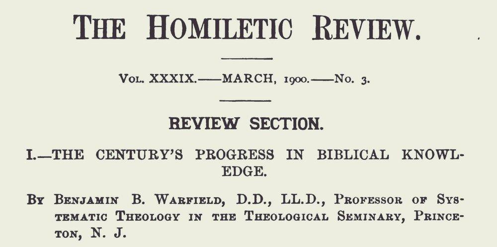 Warfield, Benjamin Breckinridge, The Century's Progress in Biblical Knowledge Title Page.jpg