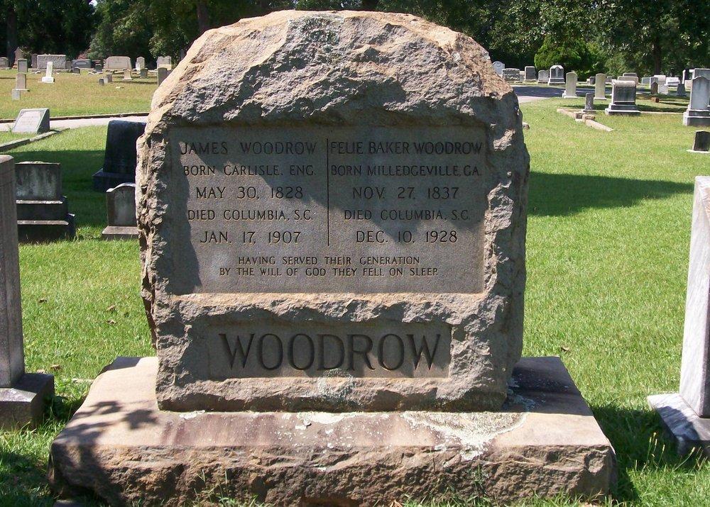 James Woodrow is buried at Elmwood Memorial Gardens, Columbia,South Carolina.