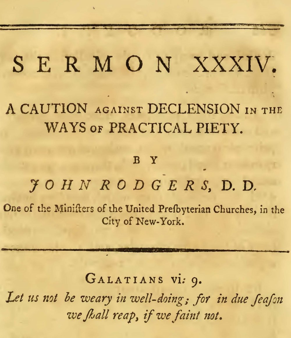 Rodgers, John, A Caution Against Declension in the Ways of Practical Piety Title Page.jpg