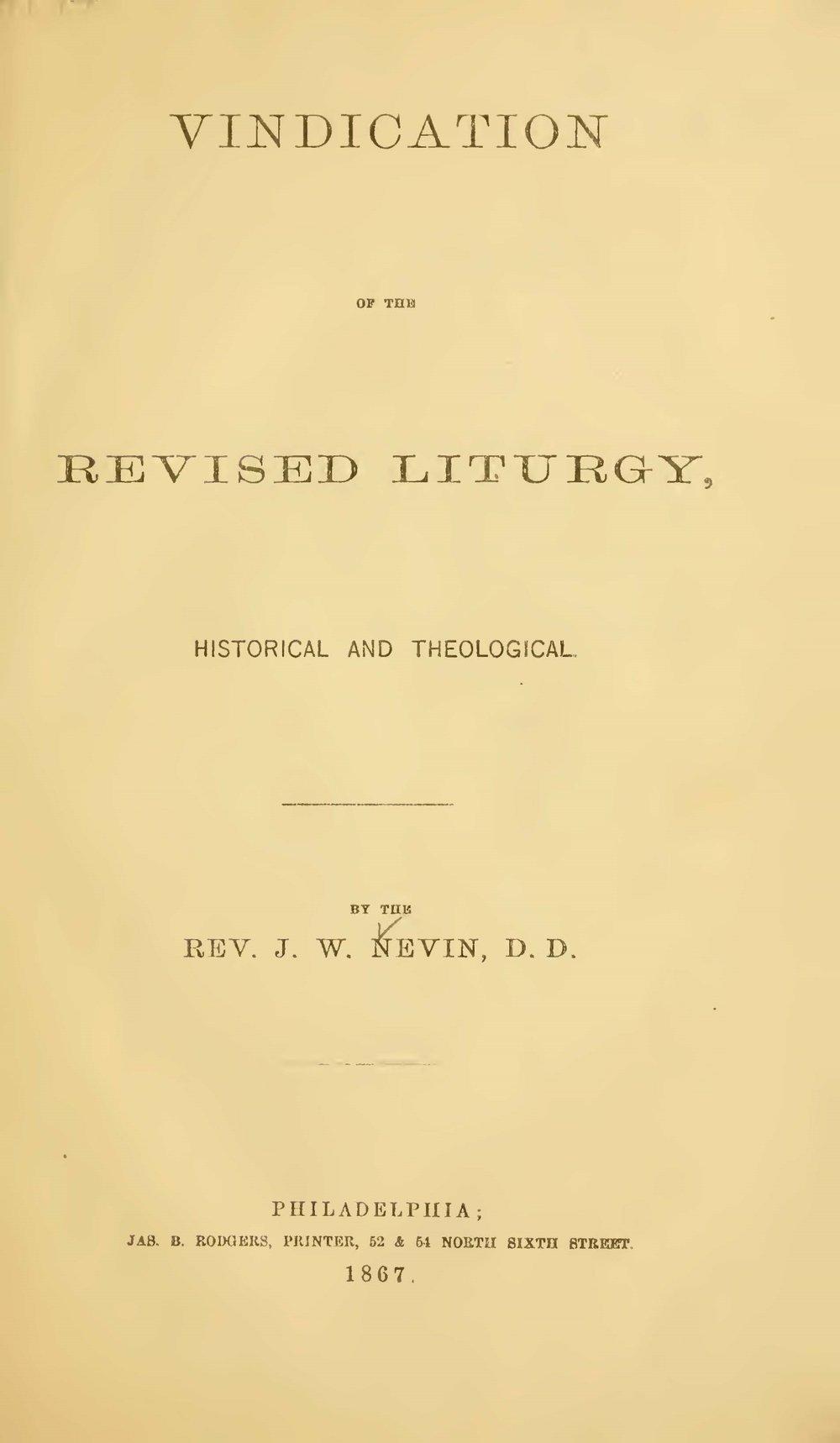 Nevin, John Williamson, Vindication of the Revised Liturgy Title Page.jpg