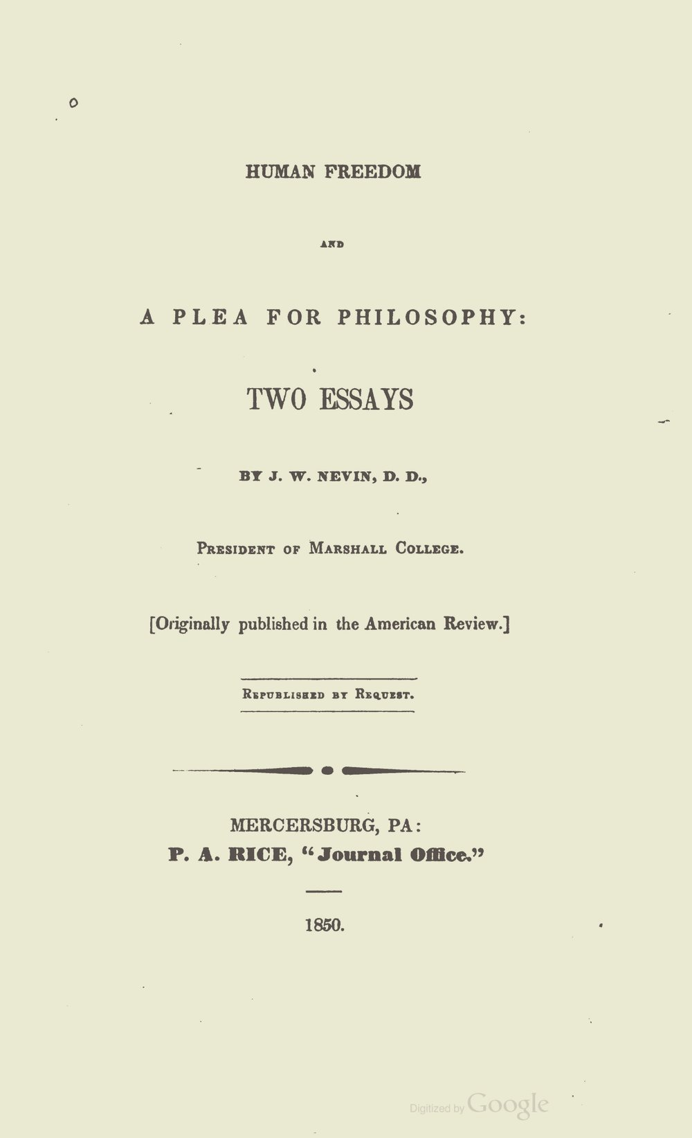 Nevin, John Williamson, Human Freedom and a Plea for Philosophy Title Page.jpg