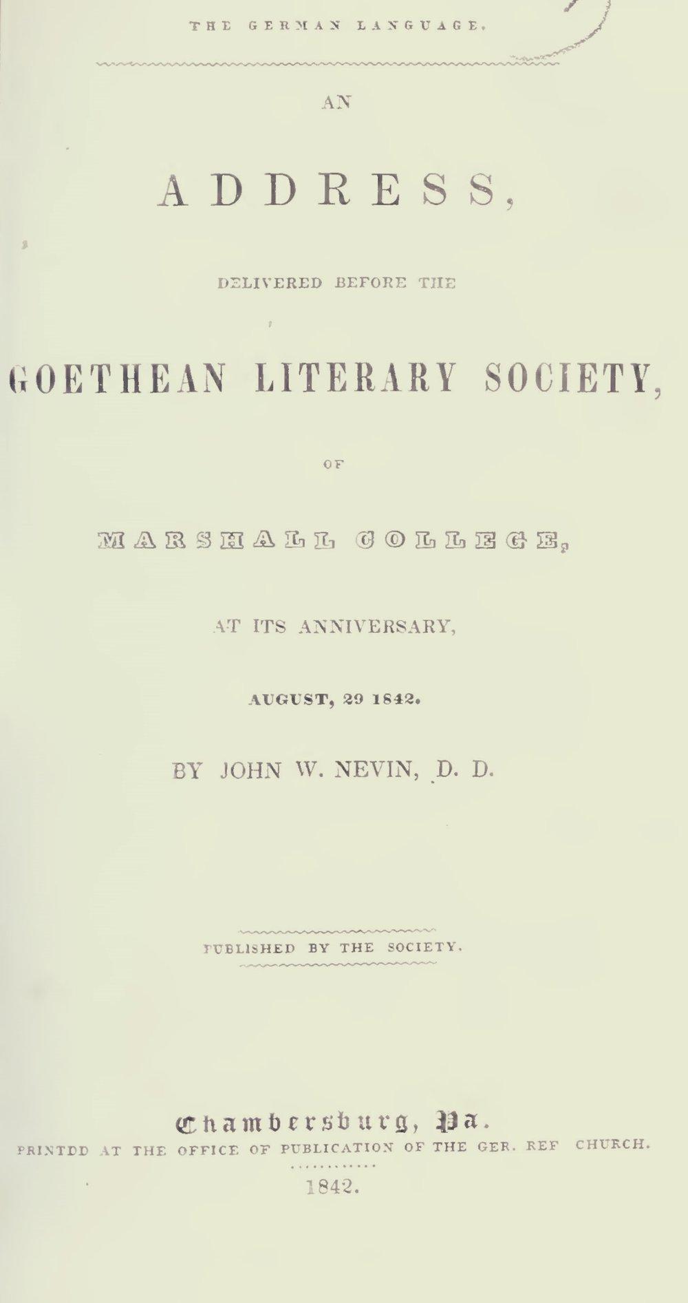 Nevin, John Williamson, The German Language Title Page.jpg