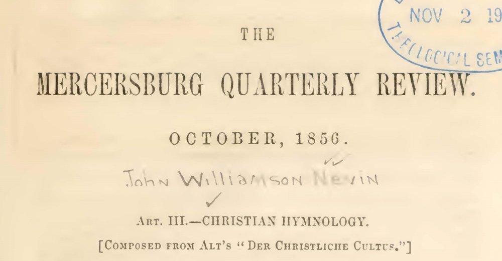 Nevin, John Williamson, Christian Hymnology Title Page.jpg
