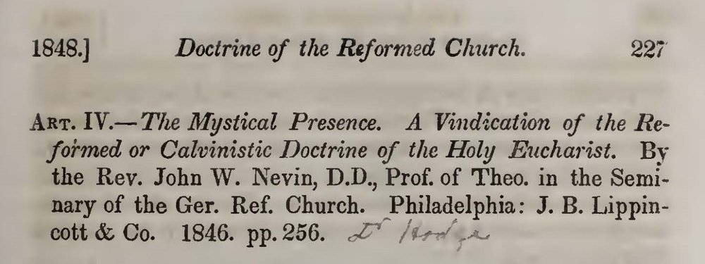 Hodge, Charles, Review of The Mystical Presence Title Page.jpg