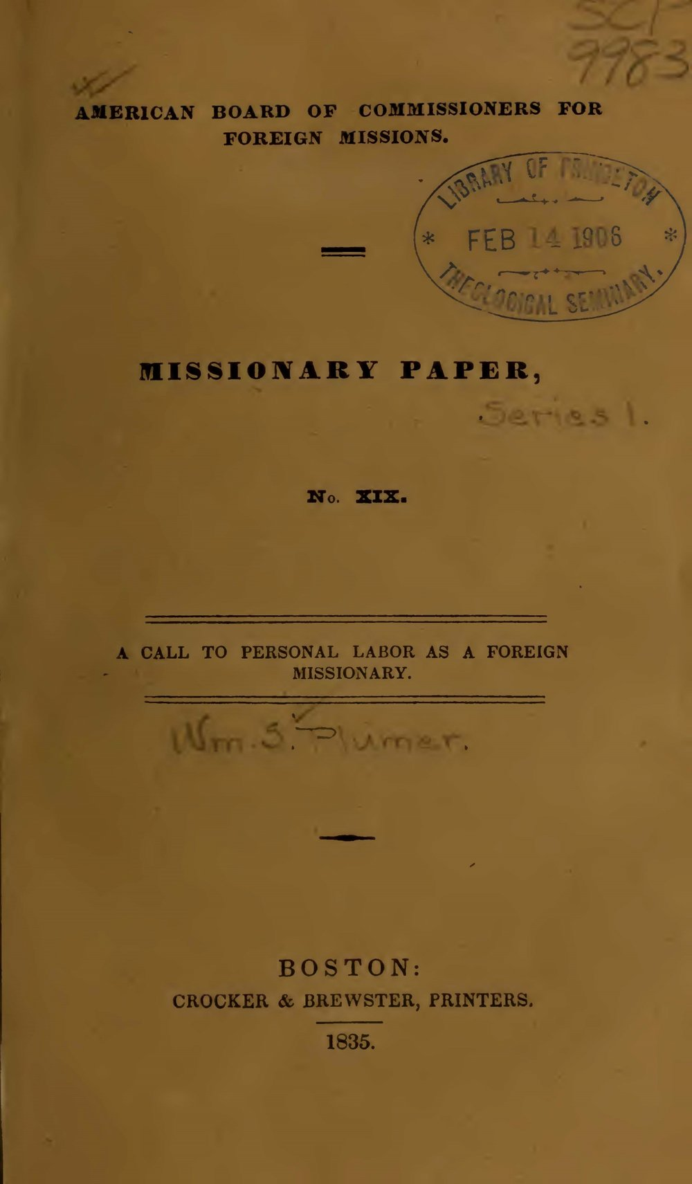 Plumer, William Swan, A Call to Personal Labor as a Foreign Missionary Title Page.jpg