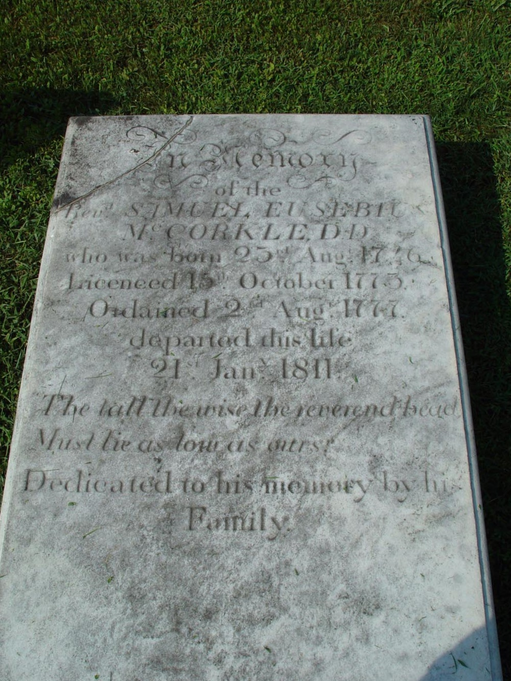 Samuel Eusebius McCorkle is buried at Thyatira Presbyterian Church Cemetery, Mill Bridge, North Carolina.