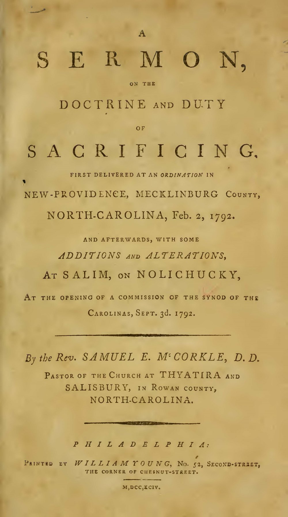 McCorkle, Samuel Eusebius, A Sermon on the Doctrine and Duty of Sacrificing Title Page.jpg