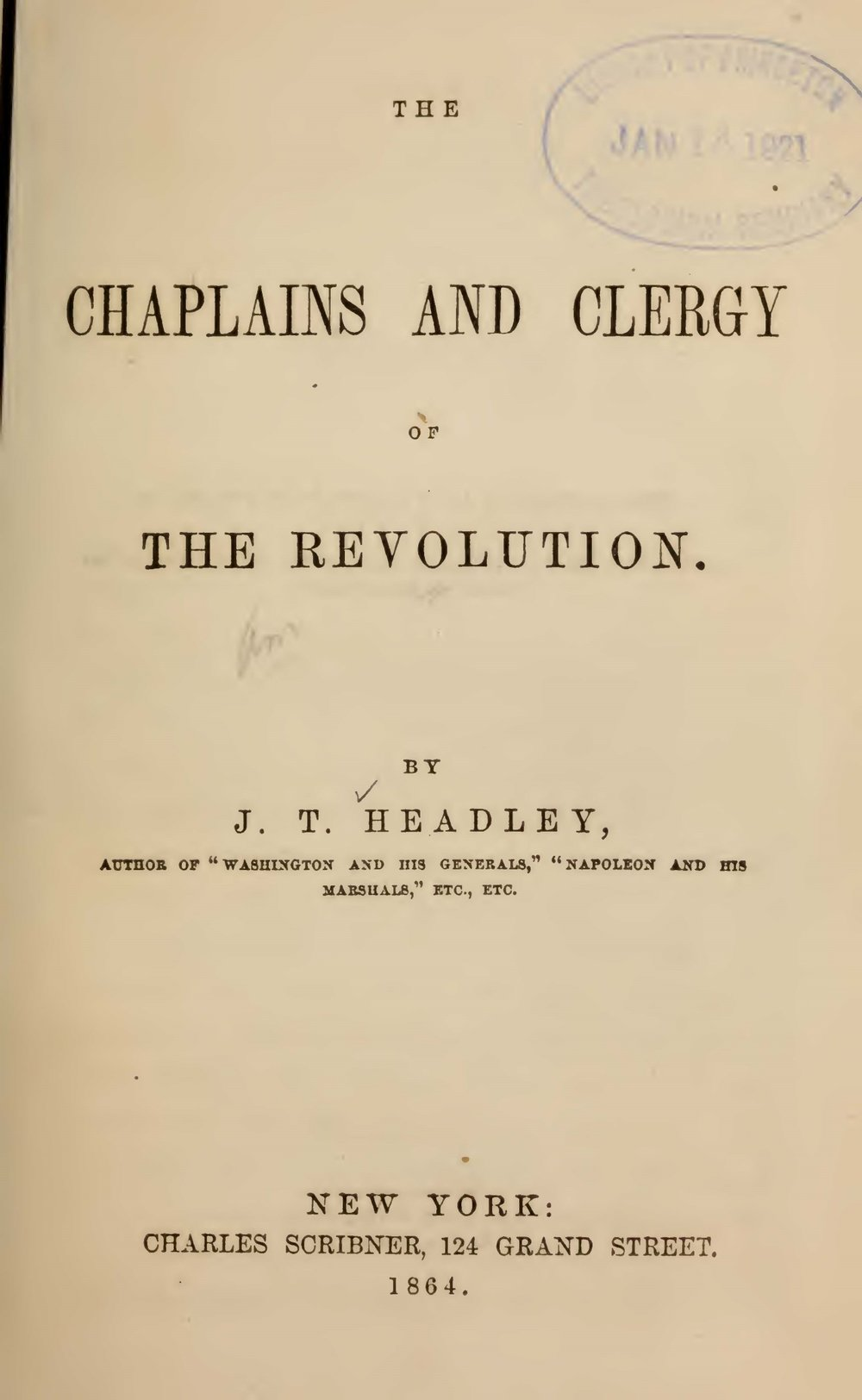 Headley, Joel Tyler, The Chaplains and Clergy of the Revolution Title Page.jpg