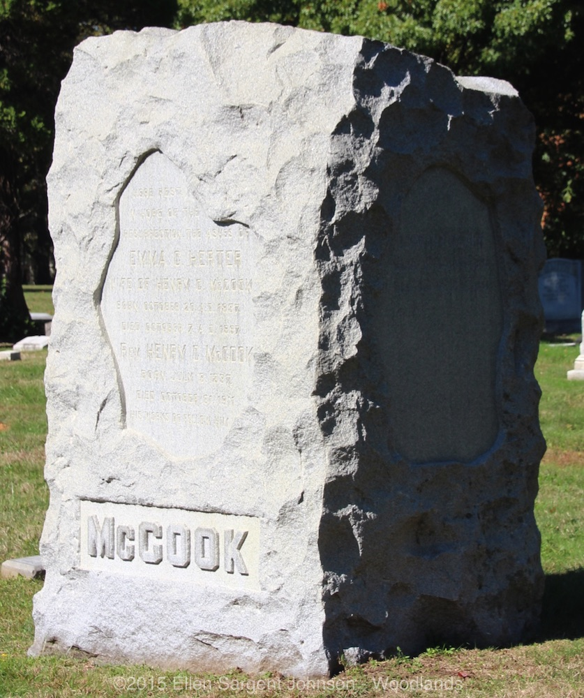 Henry Christopher McCook is buried at Woodlands Cemetery, Philadelphia, Pennsylvania.