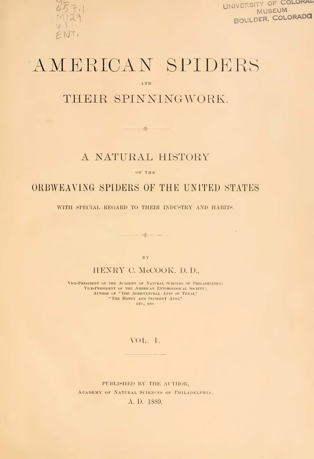 McCook, Henry Christopher, American Spiders and Their Spinningwork Title Page.jpg