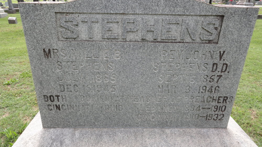 John Vant Stephens, Sr. is buried at Pleasant Ridge Presbyterian Cemetery, Pleasant Ridge, Ohio.