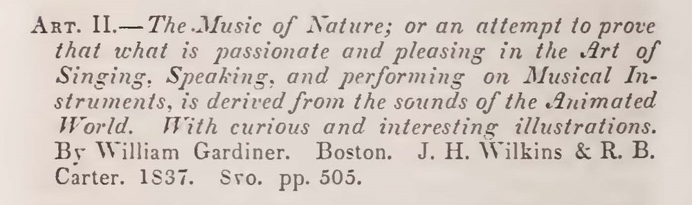 Alexander, James Waddel, Review of The Music of Nature by William Gardiner Title Page.jpg