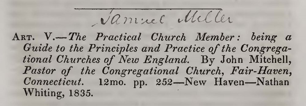 Miller, Samuel, Review of The Practical Church Member by John Mitchell Title Page.jpg