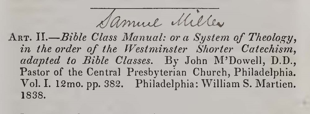 Miller, Samuel, Review of Bible Class Manual by John McDowell Title Page.jpg