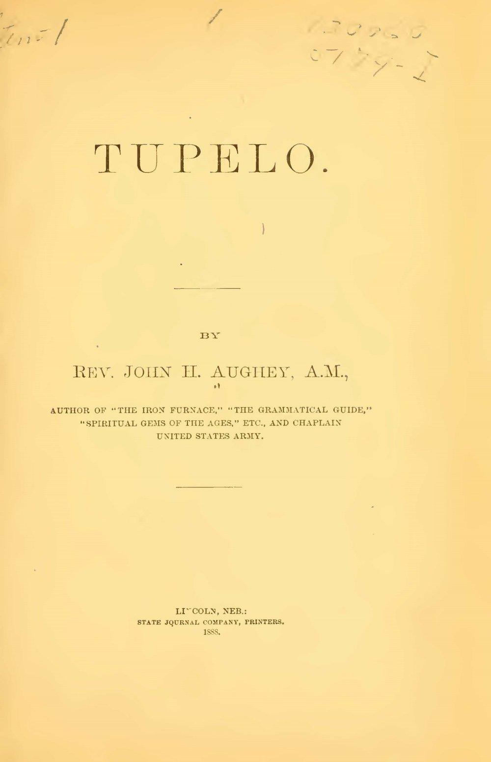 Aughey, John Hill, Tupelo Title Page.jpg