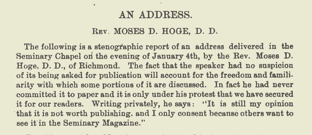 Hoge, Moses Drury, Address Title Page.jpg