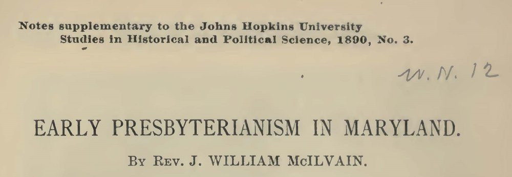 McIlvain, James William, Early Presbyterianism in Maryland Title Page.jpg