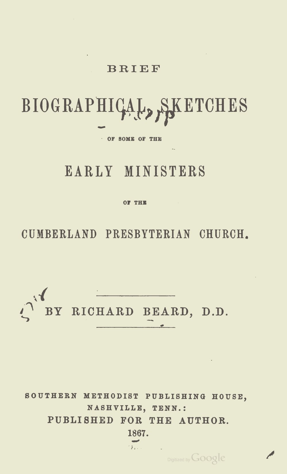 Beard, Richard, Brief Biographical Sketches, First Series Title Page.jpg