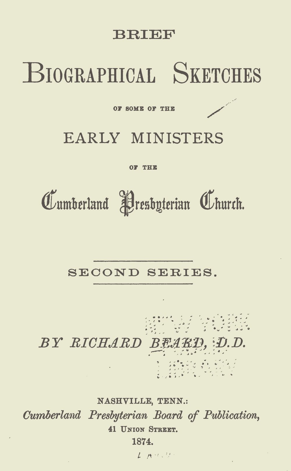Beard, Richard, Brief Biographical Sketches, Second Series Title Page.jpg