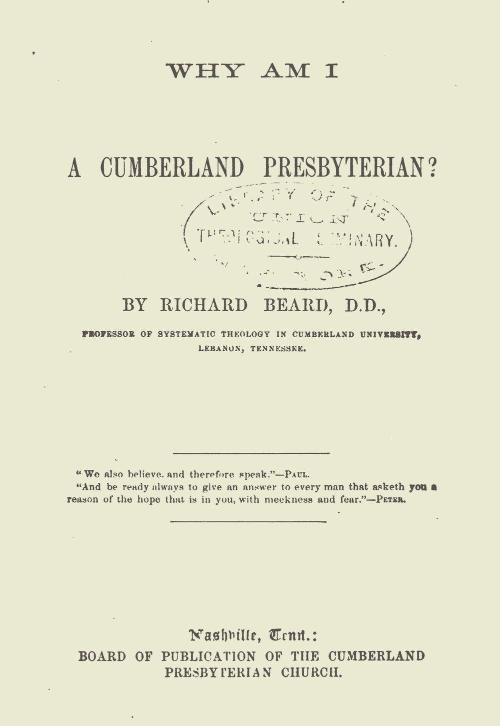 Beard, Richard, Why Am I a Cumberland Presbyterian Title Page.jpg