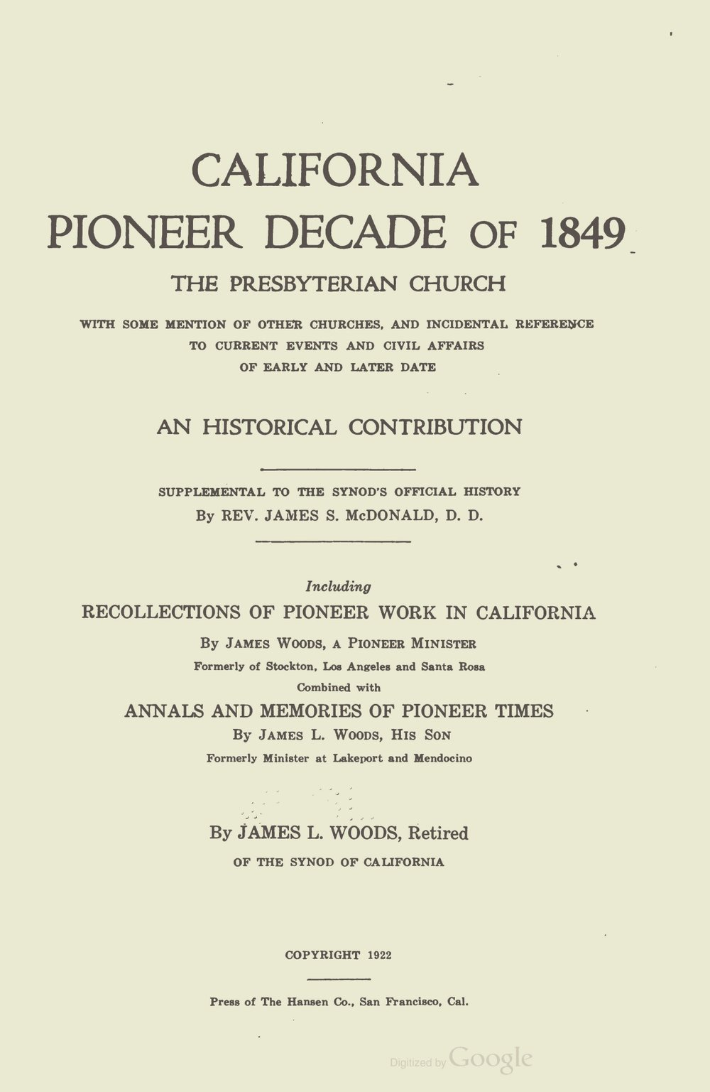 Woods, James L., California Pioneer Decade of 1849 The Presbyterian Church Title Page.jpg