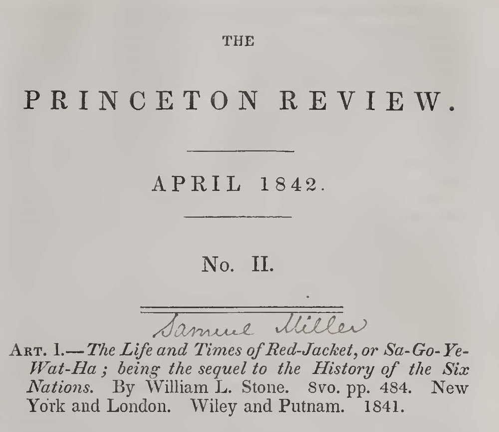 Miller, Samuel, Review of The Life and Times of Red-Jacket Title Page.jpg