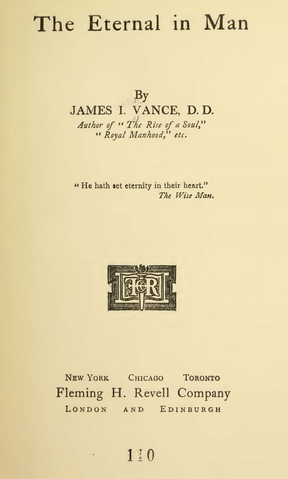 Vance, James Isaac, The Eternal in Man Title Page.jpg