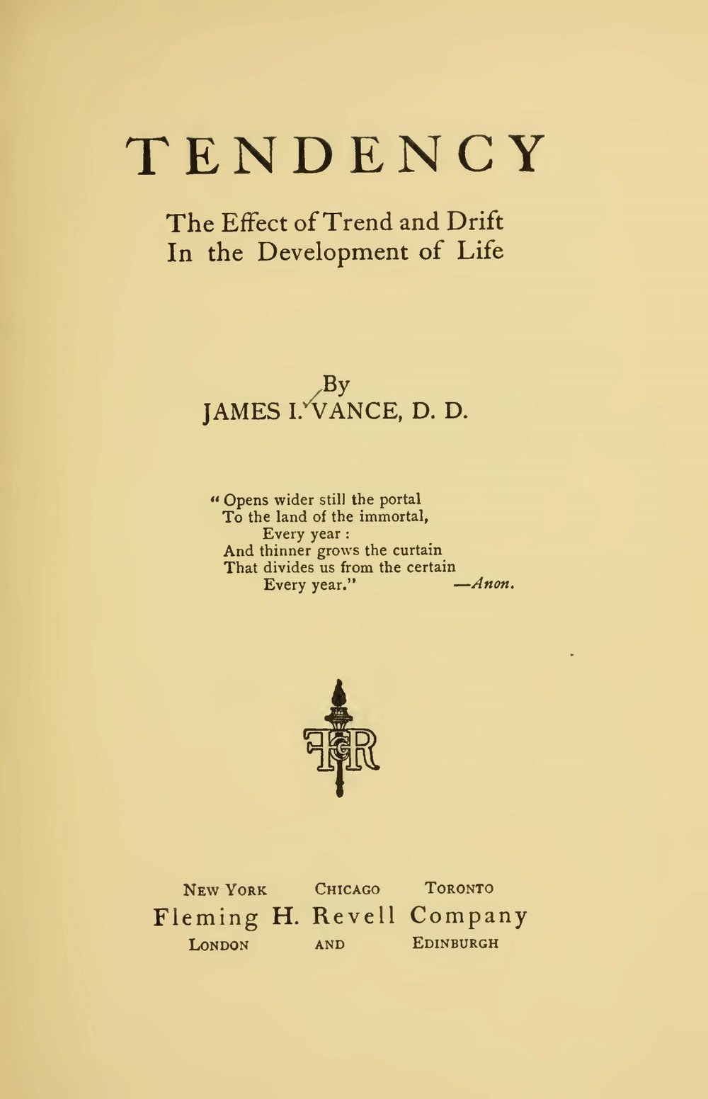 Vance, James Isaac, Tendency Title Page.jpg
