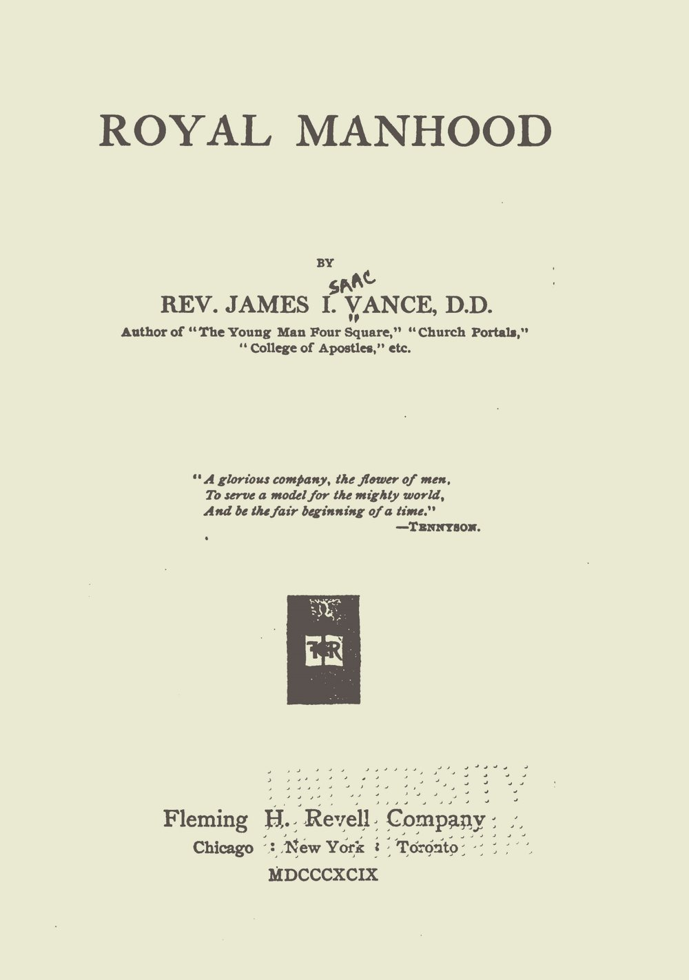 Vance, James Isaac, Royal Manhood Title Page.jpg