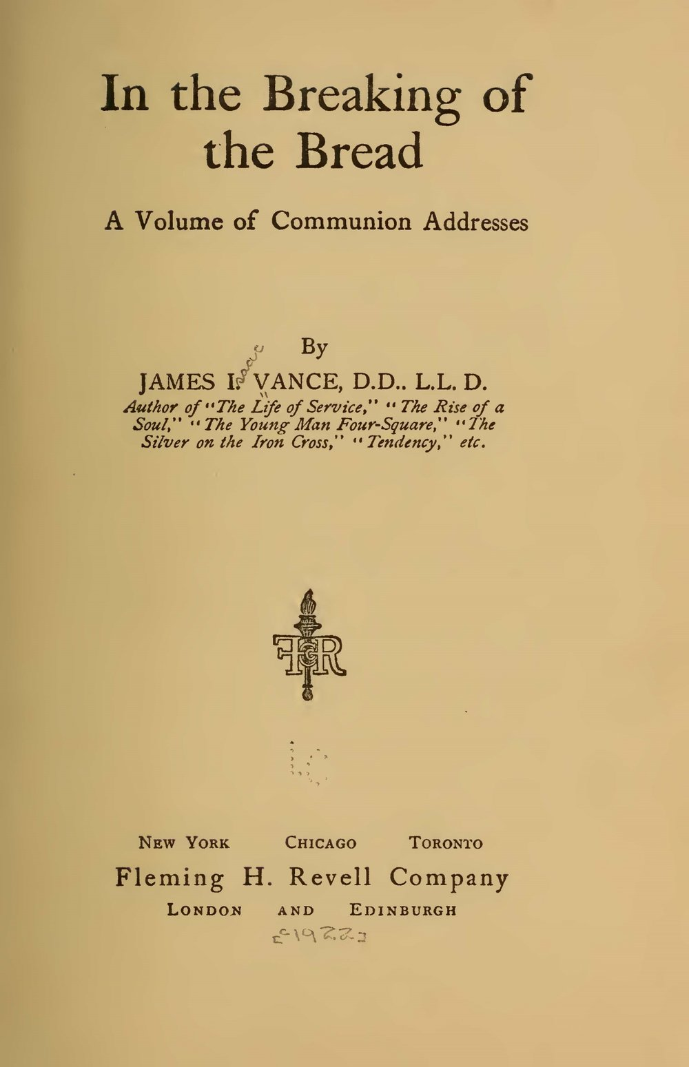 Vance, James Isaac, In the Breaking of Bread Title Page.jpg
