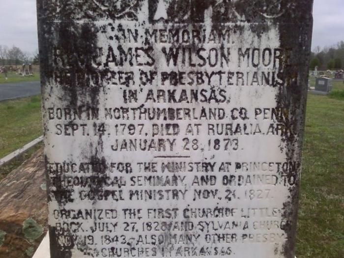 James Wilson Moore is buried at Sylvania Cemetery, Sylvania, Arkansas.