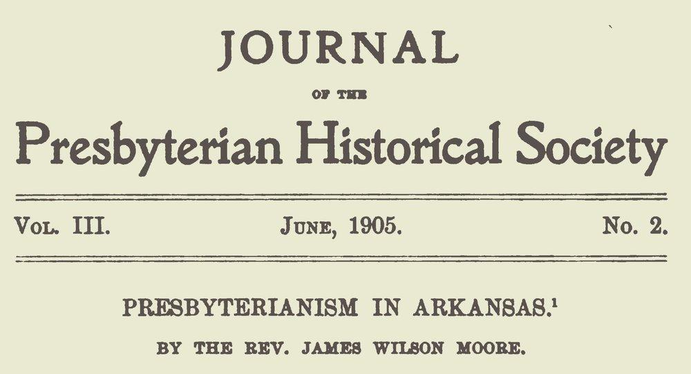 Moore, James Wilson, Presbyterianism in Arkansas Title Page.jpg