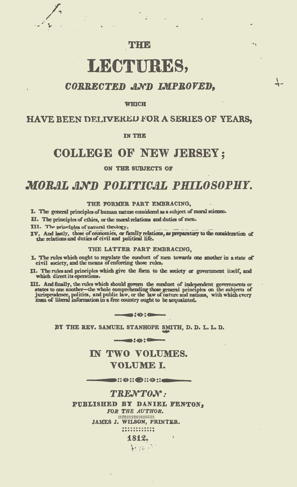Smith, Samuel Stanhope, Lectures on Moral and Political Philosophy, Vol. 1 Title Page.jpg