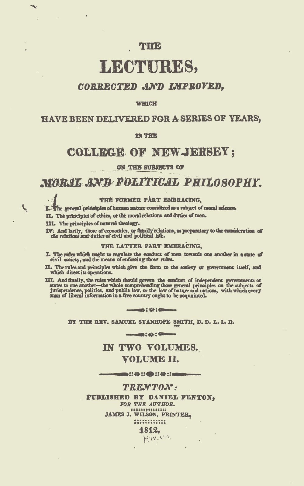 Smith, Samuel Stanhope, Lectures on Moral and Political Philosophy, Vol. 2 Title Page.jpg