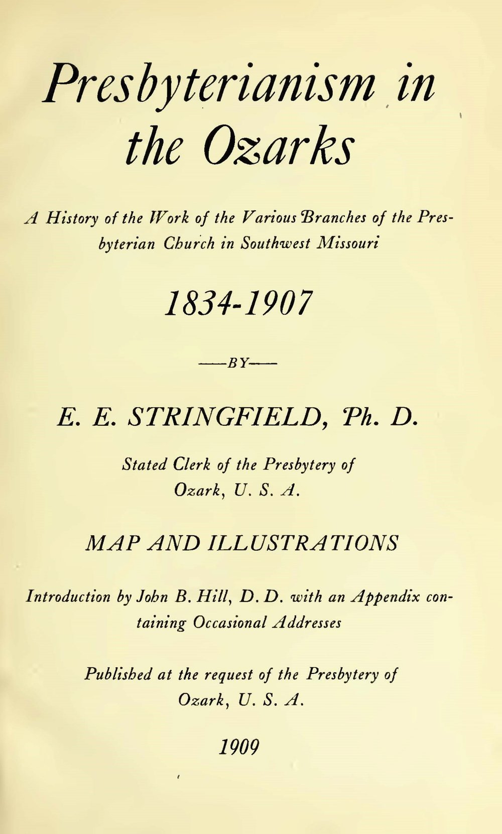 Stringfield, Eugene Edward, Presbyterianism in the Ozarks Title Page.jpg