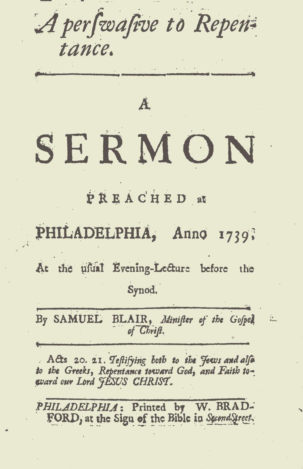 Blair, Samuel Jacob, A Perswasive to Repentance Title Page.jpg