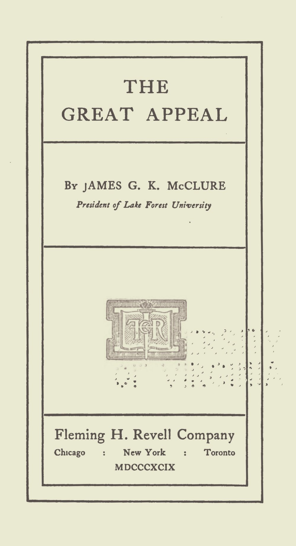 McClure, Sr., James Gore King, The Great Appeal Title Page.jpg