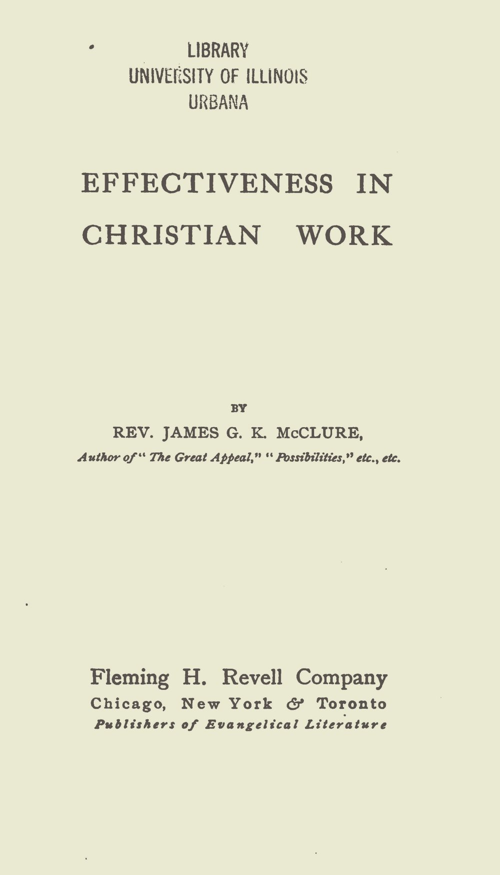 McClure, Sr., James Gore King, Effectiveness in Christian Work Title Page.jpg