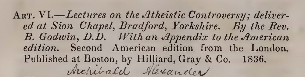 Alexander, Archibald, Revew of Lectures on the Atheistic Controversy Title Page.jpg