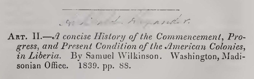 Alexander, Archibald, A Concise History of the Commencement, Progress, and Present Condition of the American Colonies in Liberia Title Page.jpg