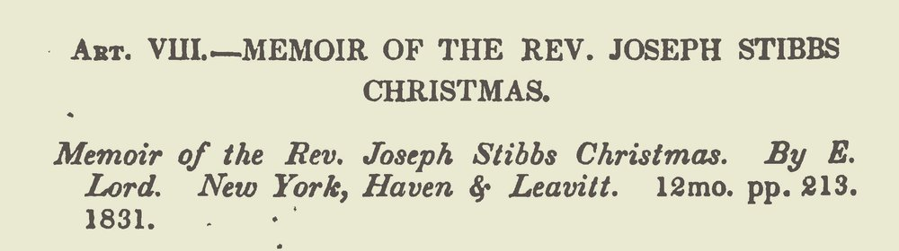 Miller, Samuel, Review of the Memoir of the Rev. Joseph Stibbs Christmas Title Page.jpg