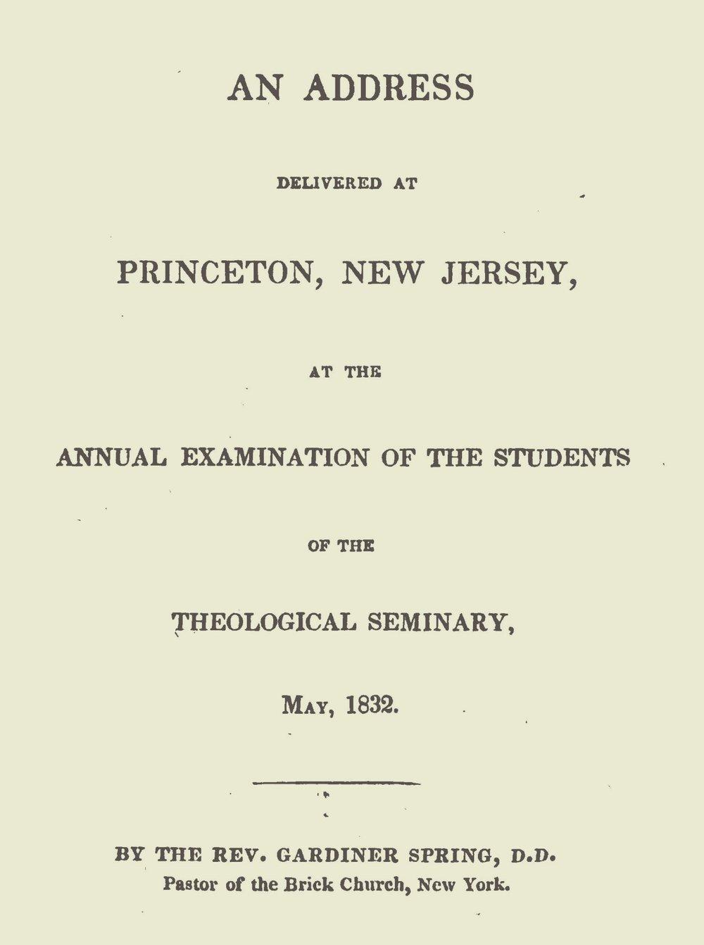 Spring, Gardiner, An Address Delivered at Princeton, New Jersey Title Page.jpg