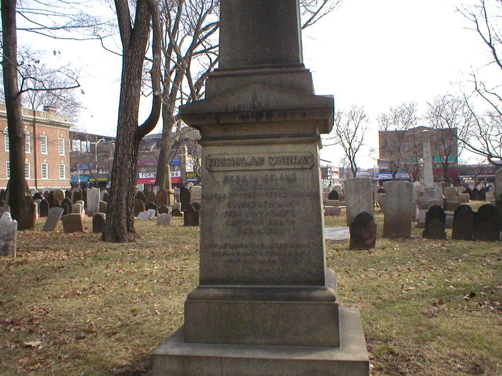 Nicholas Murray is buried at First Presbyterian Churchyard, Elizabeth, New Jersey.