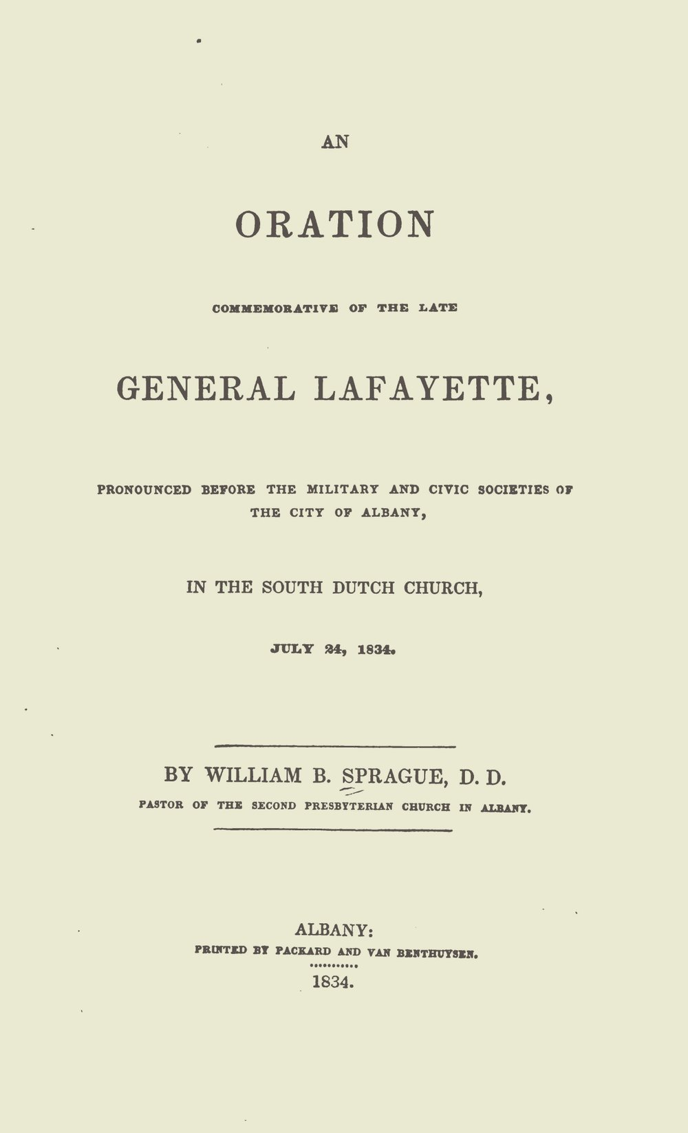 Sprague, William Buell, An Oration Commemorative of the Late General Lafayette Title Page.jpg