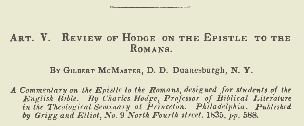 McMaster, Gilbert, Review of Hodge on the Epistle to the Romans Title Page.jpg