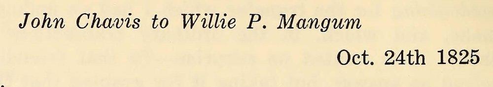 Chavis, John, October 24, 1825 Letter to Willie P. Mangum Title Page.jpg
