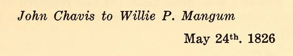 Chavis, John, May 24, 1826 Letter to Willie P. Mangum Title Page.jpg